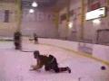 Hockey Check Breaks Glass