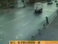 Bus drifts then hits a guy on a bicycle