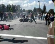 Motorcyle accident -- two stunt riders collide