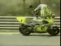 Driver loses control of motorcycle but regains control... ni