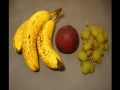 Banana, orange and grapes decompose over 2 months