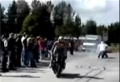 Flying Motorcycle Hits Rider -- ouch!