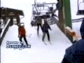 Dragged by ski lift