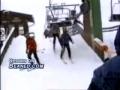 Dragged by ski lift