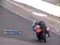 Motorcycle rider attempts the nose wheelie but flips