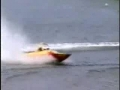 Speed boat skids onto shore and lands on a lady