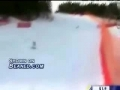 Skier takes a pole to the nuts