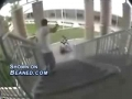 Rollerblader snaps arm falling off a rail