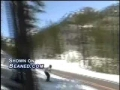 Skier tries to jump the highway