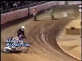 Dirt biker nailed in back by another bike