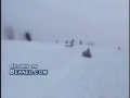 Girl snaps spine off of a sled jump