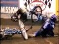 Motor bike flips and crashes