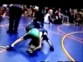 Crazy dad shoves kid in wrestling match
