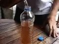 How to heat up water using a plastic bottle